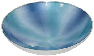 Mazali Large White Shade Enamel Decorative Round Bowl, Blue ideal for Home Décor , Kitchen , Tableware and Serveware