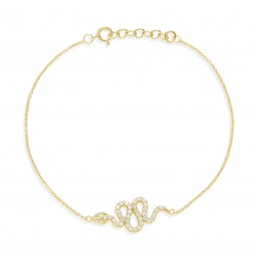 Mazali Jewellery Sterling Silver Chain Bracelet with Snake Charm of Length 18-20cm GOLD GOLD