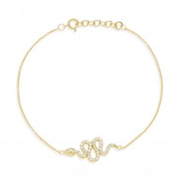 Mazali Jewellery Sterling Silver Chain Bracelet with Snake Charm of Length 18-20cm GOLD GOLD