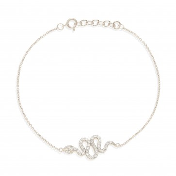 Mazali Jewellery Sterling Silver Chain Bracelet with Snake Charm of Length 18-20cm RHODIUM RHODIUM
