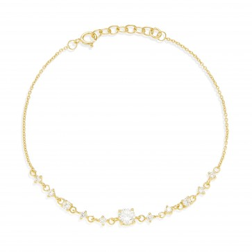 Mazali Jewellery Sterling Silver Chain Bracelet with Diamonds by the Yard of Length 18-20cm GOLD GOLD