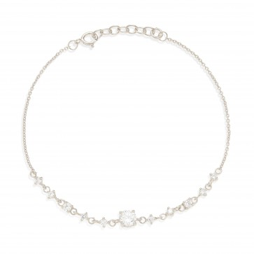 Mazali Jewellery Sterling Silver Chain Bracelet with Diamonds by the Yard of Length 18-20cm RHODIUM RHODIUM