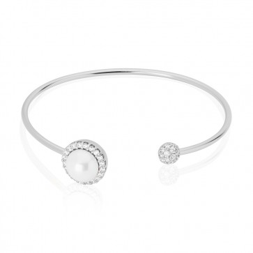 Mazali Jewellery Sterling Silver Bangle with Pearl and Pave Surround RHODIUM