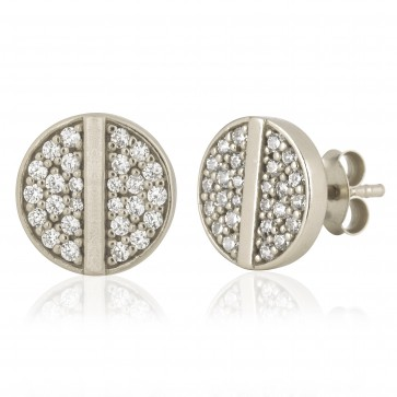 Mazali Jewellery Sterling Silver Stud Earrings with Round Pave Cubic Zirconia Disk and Single Central Line RHODIUM RHODIUM