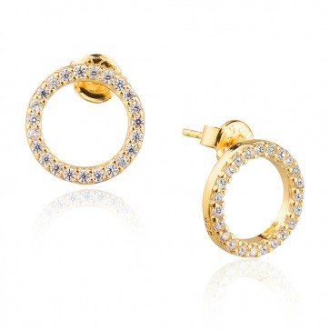 Mazali Jewellery Sterling Silver Gold Plated Open Circle Pave Stud Earrings  GOLD
