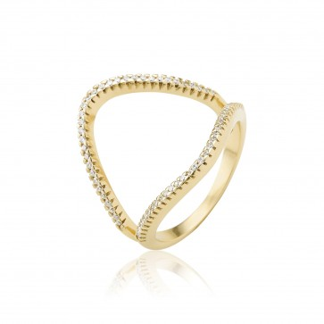 Mazali Jewellery Sterling Silver Rose Gold Plated Open Circle Ring GOLD