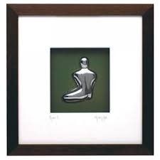Metal Art Male Nude in Brown Box Frame