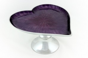 Heart Cake Stand    Purple brushed enamel