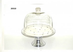 Cake Stand in Polka Dots with Glass Dome