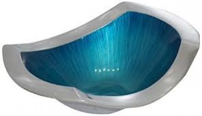 Bowl rect.    aqua brushed enamel