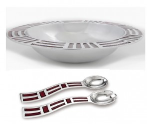 Red Aztec Salad Bowl and Salad Server