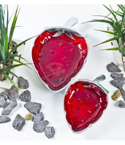Strawberry Shape Dish Set 2 Aluminium 22.5x15x3.5/ 31x20x4cm