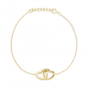 Mazali Jewellery Sterling Silver Chain Bracelet with Two Interlinking Hearts of Length 18-20cm GOLD GOLD