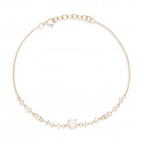 Mazali Jewellery Sterling Silver Chain Bracelet with Diamonds by the Yard of Length 18-20cm ROSE GOLD ROSE GOLD