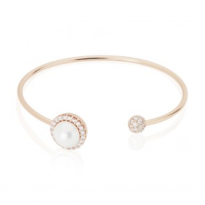 Mazali Jewellery Sterling Silver Rose Gold Plated Bangle with Pearl and Pave Surround ROSE GOLD