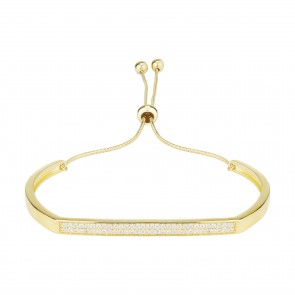 Mazali Jewellery Sterling Silver Gold Plated Bangle with Pave Bar GOLD