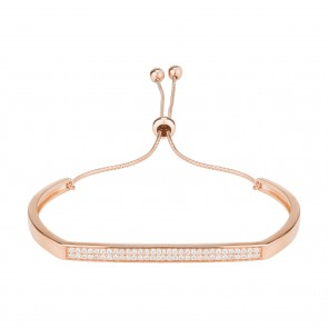 Mazali Jewellery Sterling Silver Rose Gold Plated Bangle with Pave Bar ROSE GOLD