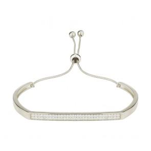Mazali Jewellery Sterling Silver Bangle with Pave Bar RHODIUM