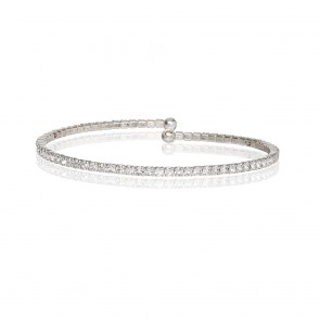 Mazali Jewellery Silver Plated Single Wrap Pave Bracelet RHODIUM RHODIUM