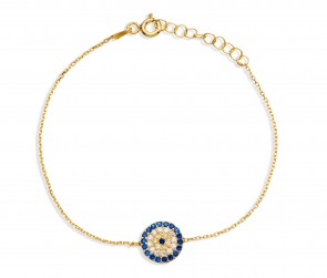 Mazali Jewellery Sterling Silver Chain Bracelet with Round Evil Eye of 16-18.5cm GOLD GOLD