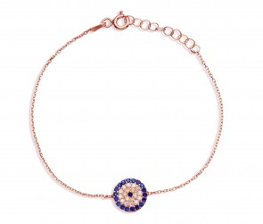 Mazali Jewellery Sterling Silver Chain Bracelet with Round Evil Eye of 16-18.5cm ROSE GOLD ROSE GOLD
