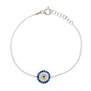 Mazali Jewellery Sterling Silver Chain Bracelet with Round Evil Eye of 16-18.5cm RHODIUM RHODIUM