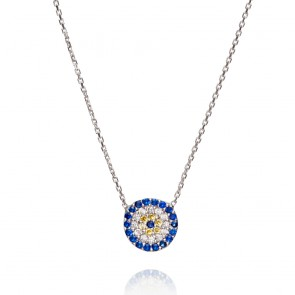 Mazali Jewellery Sterling Silver Necklace with Round Evil Eye Pendant of 41.5-45cm RHODIUM RHODIUM