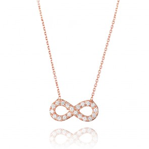 Mazali Jewellery Sterling Silver Necklace with Medium Pave Infinity Pendant of 41.5-45cm ROSE GOLD ROSE GOLD