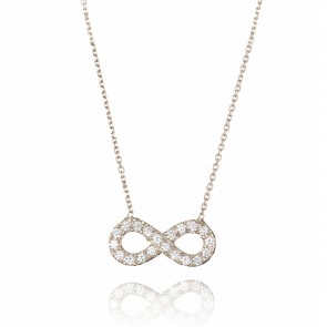 Mazali Jewellery Sterling Silver Necklace with Medium Pave Infinity Pendant of 41.5-45cm RHODIUM RHODIUM