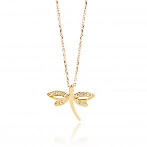 Mazali Jewellery Sterling Silver Gold Plated Dragonfly Pendant Necklace  GOLD