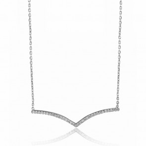 Mazali Jewellery Sterling Silver Necklace with V Shape Bar RHODIUM
