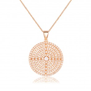 Mazali Jewellery Sterling Silver Gold Plated Necklace with Large Multi Circle Pendant GOLD