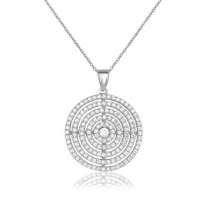 Mazali Jewellery Sterling Silver Necklace with Large Multi Circle Pendant RHODIUM