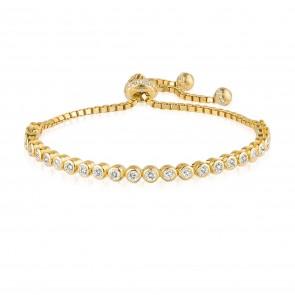 Mazali Jewellery Sterling Silver Adjustable Tennis Bracelet of 17-19cm GOLD GOLD