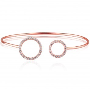 Mazali Jewellery Sterling Silver Rose Gold Plated Bangle with Open Pave Circles ROSE GOLD
