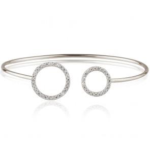 Mazali Jewellery Sterling Silver Bangle with Open Pave Circles RHODIUM