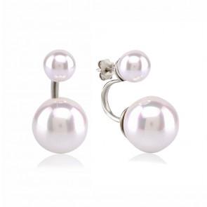 Mazali Jewellery Sterling Silver Swing Earrings with Two Pearls RHODIUM RHODIUM