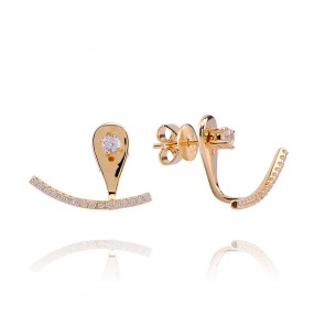 Mazali Jewellery Sterling Silver Single Stud and Curved Pave Line Ear Jackets  GOLD