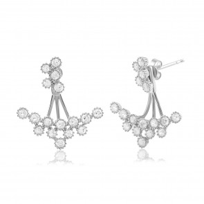 Mazali Jewellery Sterling Silver Swing Earrings with Crystal Cluster Design RHODIUM