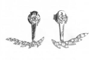 Mazali Jewellery Sterling Silver Single Stud and Leaf Ear Jackets RHODIUM RHODIUM