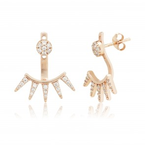 Mazali Jewellery Sterling Silver Gold Plated Swing Earrings with Pave Stud and 5 Pave Triangles ROSE GOLD