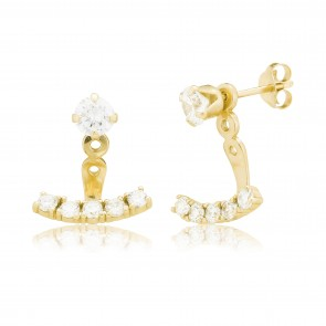 Mazali Jewellery Sterling Silver Swing Earrings with Single Cubic Zirconia Stud and 5 Cubic Zirconia Stones GOLD GOLD