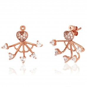 Mazali Jewellery Sterling Silver Pave Heart Stud and Small Hearts Ear Jackets  ROSE GOLD ROSE GOLD