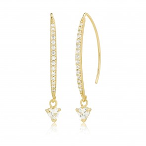 Mazali Jewellery Sterling Silver Gold Plated Earrings with Single Pave Curve Line and Hanging Cubic Zirconia Stone GOLD