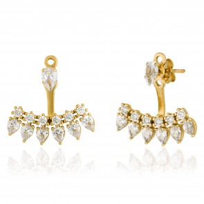 Mazali Jewellery Sterling Silver Gold Plated Single Stud and Pear Shaped Stones Ear Jackets  GOLD