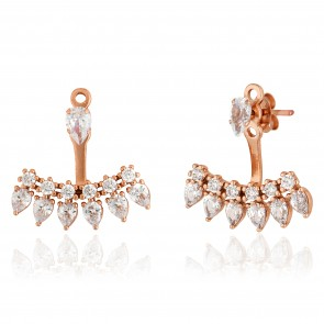 Mazali Jewellery Sterling Silver Single Stud and Pear Shaped Stones Ear Jackets  ROSE GOLD