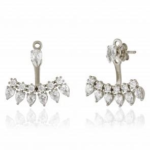Mazali Jewellery Sterling Silver Single Stud and Pear Shaped Stones Ear Jackets  RHODIUM RHODIUM