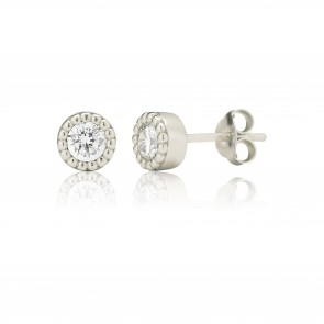 Mazali Jewellery Sterling Silver Stud Earrings with Single Cubic Zirconia Stone Centre RHODIUM RHODIUM