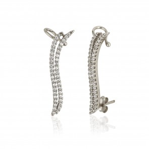 Mazali Jewellery Sterling Silver Ear Cuffs with Double Curved Pave Cubic Zirconia Stone Lines RHODIUM RHODIUM