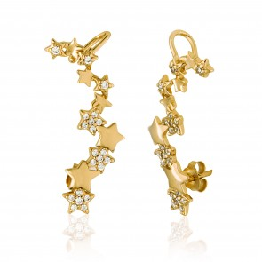 Mazali Jewellery Sterling Silver Gold Plated Ear Cuffs with a Line of Shining Stars and Cubic Zirconia Stones GOLD